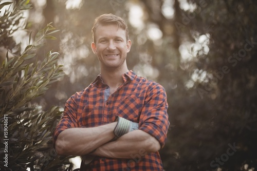 Confident young man standing by olive tree at farm