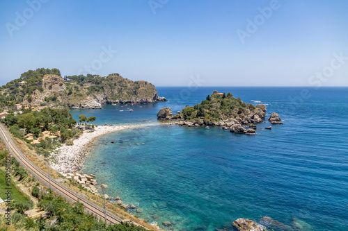 Obraz na plátně Aerial view of Isola Bella island and beach - Taormina, Sicily, Italy