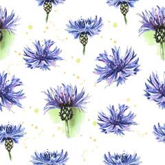 Panel Szklany Meadow blue flowers, cornflowers. Seamless floral pattern. Watercolor