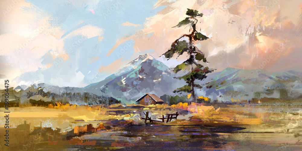 drawn by sketch landscape with a house and pine