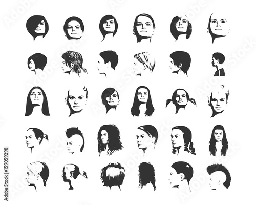 Collection Of Woman Silhouettes With Different Hair Styles Buy