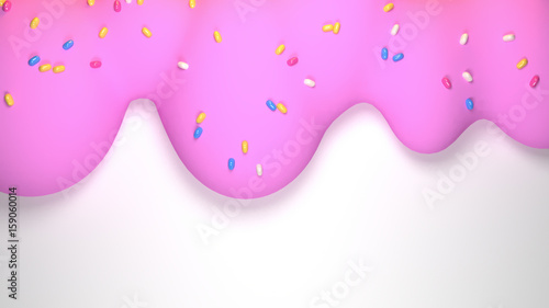 canvas print motiv - tykcartoon : Cartoon melting ice cream with colorful sprinkles. 3d render picture.