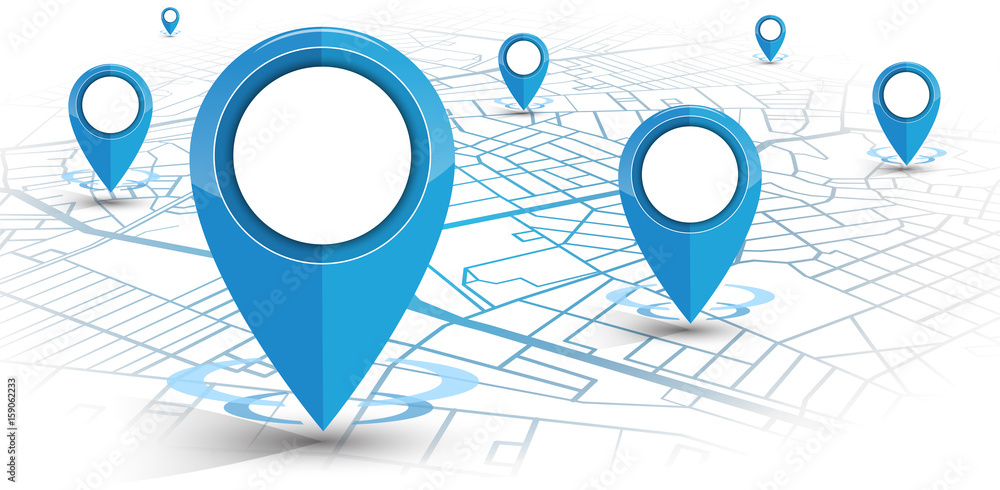 Fototapety, obrazy: GPS navigator pin blue color mock up wite map on white background