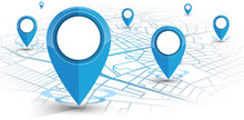 GPS Navigator Pin Blue Color Mock Up Wite Map On White Background