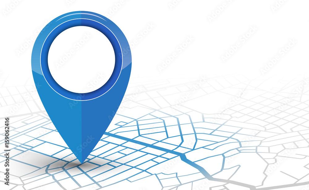 Fototapeta GPS navigator pin checking blue color on white background
