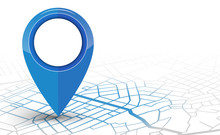 GPS Navigator Pin Checking Blue Color On White Background