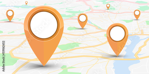 GPS navigator pin mock up orange color  on street map of city Canvas-taulu