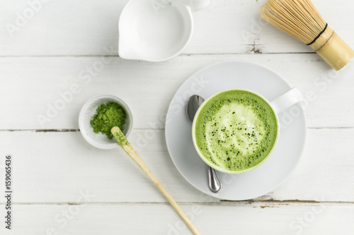 Fotografie, Obraz  Matcha latte cup on white background top view