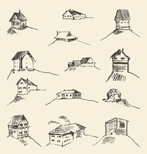 Set Of Hand Drawn Rural Houses...