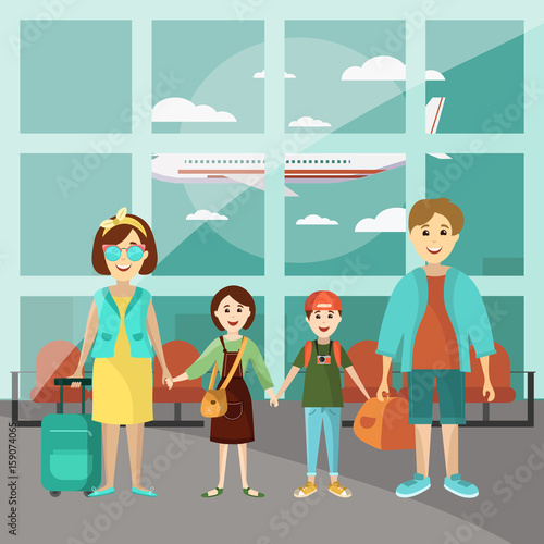 Family Travel Concept Vector Poster Parents With Two Kids At The Airport Going To Vacation