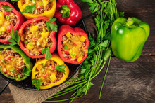 Bell Peppers, Stuffed With Mea...
