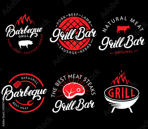 Fotografia Vector set of grill bar and bbq labels in retro style