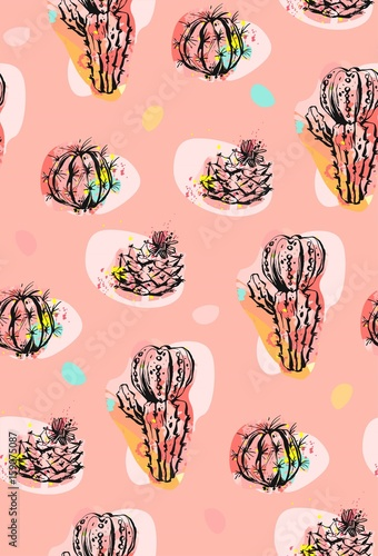 Hand drawn vector abstract seamless pattern collage with cacti plants illustrations and confetti shapes isolated on pastel background.Unusual fashion fabric,wedding,decoration,birthday,design elements