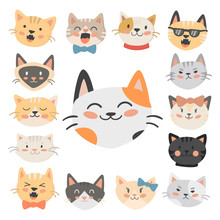 Cats Heads Vector Illustration...