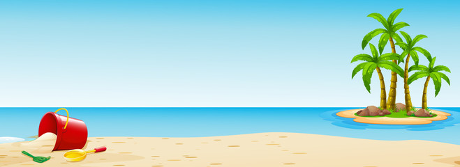 Scene with bucket on the beach