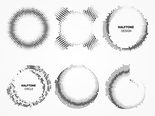 Halftone Circular Frame. Technological Circles With Dots.