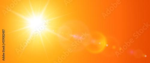 Fototapeta Sunny background, orange sun with lens flare obraz na płótnie