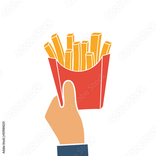 French Fries In Hands Of Men French Fries In Paper Box Silhouette