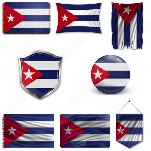 Set of the national flag of Cuba in different designs on a white background Wallpaper Mural