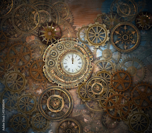 Rusty steampunk background Canvas Print