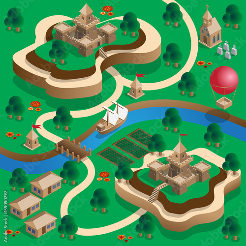 The medieval landscape  Isometric  Vector illustration