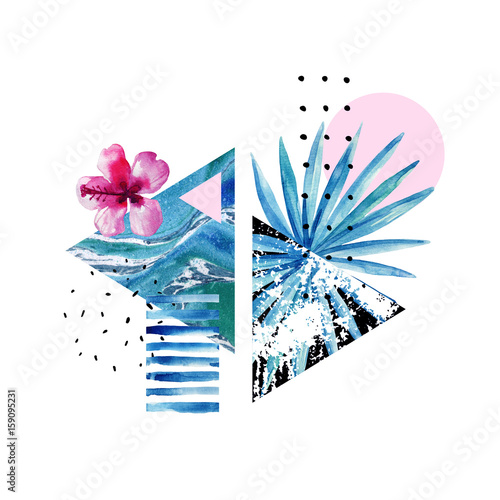 Photo sur Toile Empreintes Graphiques Abstract summer geometric elements with exotic flower and leaves