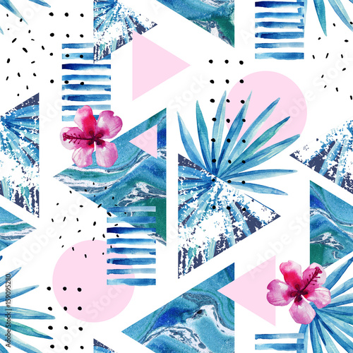Staande foto Grafische Prints Abstract summer geometric background with exotic flower and leaves