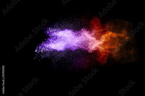 Photo sur Toile Les Textures color powder explosion on black background.
