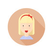 Vector blond girl with glasses and photo camera character avatar in the circle. Made in flat style.