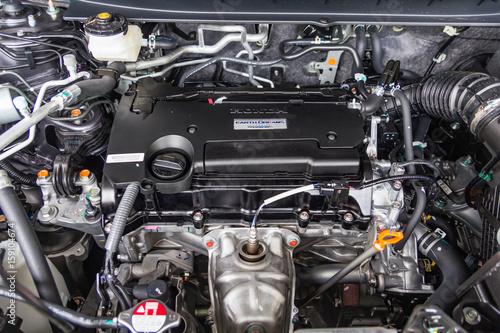 Fotografiet  Close up detail of new car engine