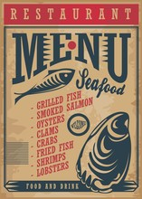 Seafood Restaurant Menu Template On Old Paper Texture