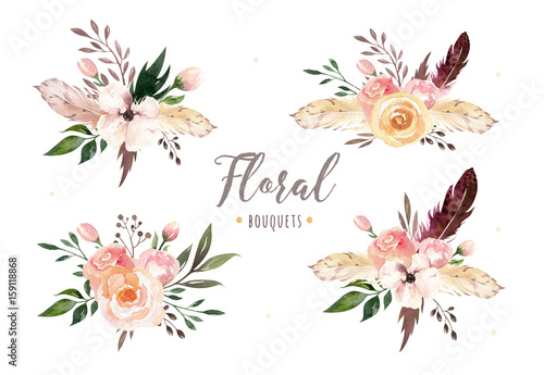 Stickers pour porte Fleur Hand drawing isolated boho watercolor floral illustration with leaves, branches, flowers. Bohemian greenery art in vintage style. Elements for wedding card.
