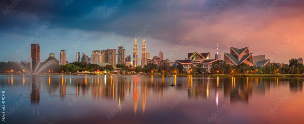 Fototapety, obrazy: Kuala Lumpur Panorama. Cityscape image of Kuala Lumpur, Malaysia during sunset.