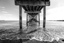 Beach Pier Black And White