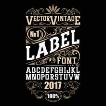 Vector Vintage Label Font. Whi...