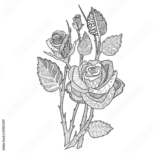 Rose bouquet coloring book page doodle. Decorative ...