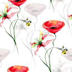 Fototapeta Seamless pattern with wild flowers