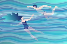 Young Couple Swimming In The Sea (ocean), Symbolizing The Elements Of Water In Astrology. Vector Design.
