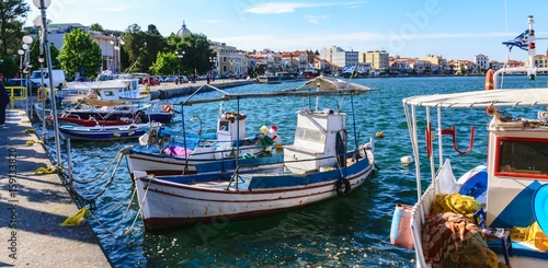 The port of Mytilini is the capital of the Greek island of Lesbos with its waterfront promenade Canvas Print