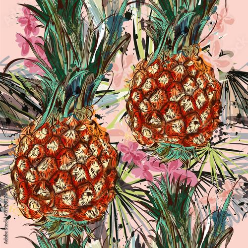 tropikalny-wzor-z-ananasem-liscmi-palmowymi-i-plamami