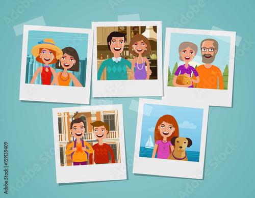 Obraz Family photo album. People, parents and children concept. Cartoon vector illustration - fototapety do salonu