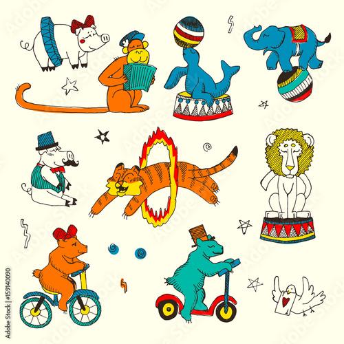 Printed kitchen splashbacks Fairytale World Doodle Set of Circus animals, elements isolated on white
