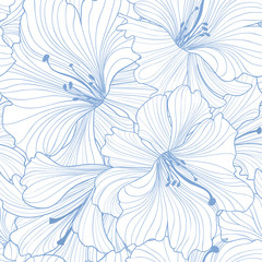 FototapetaFloral seamless pattern. Flower lily background. Floral seamless texture