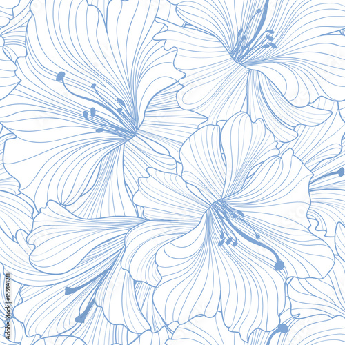 Floral seamless pattern. Flower lily background. Floral seamless texture