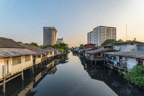 Life in the slums of Bangkok,Thailand Canvas Print