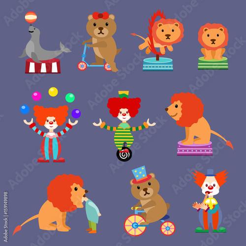 Printed kitchen splashbacks Illustrations Flat Set of Circus animals and clowns