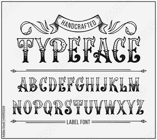 Handcrafted letters with Victorian decor  Vector label font
