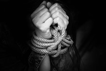 Woman Hands Tied Up With Rope ...