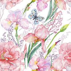 Fototapetaseamless pattern .irises peonies flowers butterfly.exotic print fabric,Wallpaper.watercolor illustration.