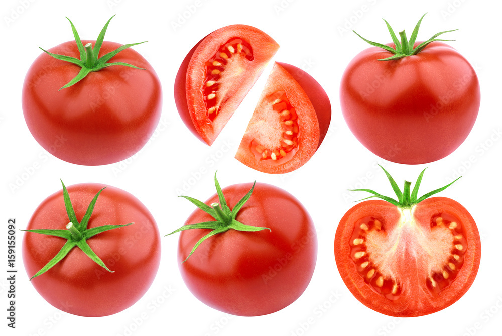 Fototapety, obrazy: Tomatoes isolated. Fresh cut tomato set isolated on white background with clipping path